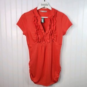Maurices Coral Ruffle Short Sleeve T-Shirt Top